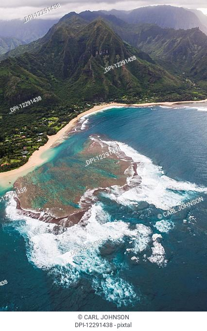 Aerial view of a reef on the north shore of Kauai near Kilauea; Kauai, Hawaii, United States of America