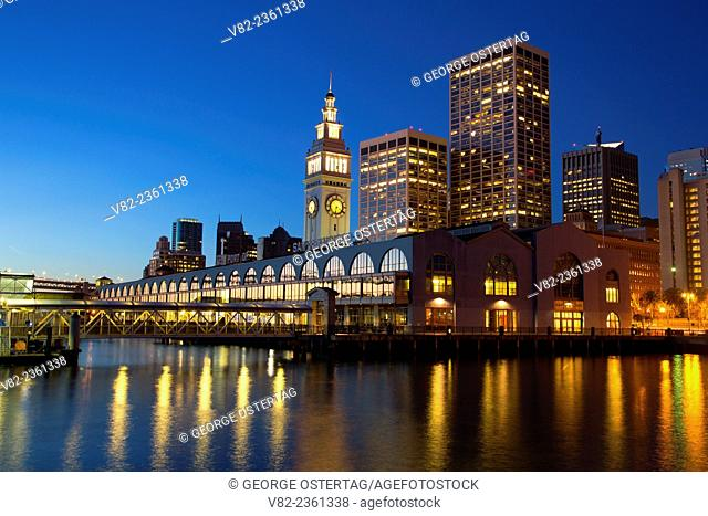 San Francisco Ferry Building at dawn, Embarcadero, San Francisco, California