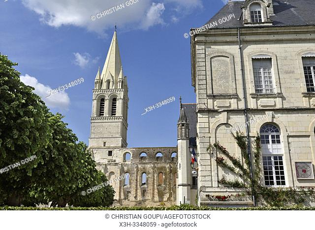 Town Hall and clock tower of the Benedictine Abbey at Beaulieu-les-Loches, Touraine, department of Indre-et-Loire, Centre-Val de Loire region, France, Europe