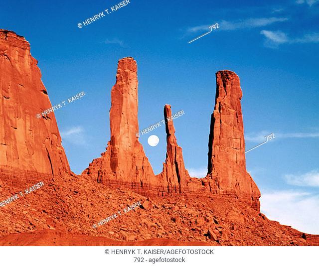 Three Sisters Rocks. Monument Valley. Arizona. USA
