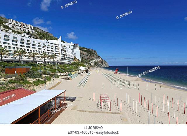 Beach at the Atlantic coast in Sesimbra, Portugal