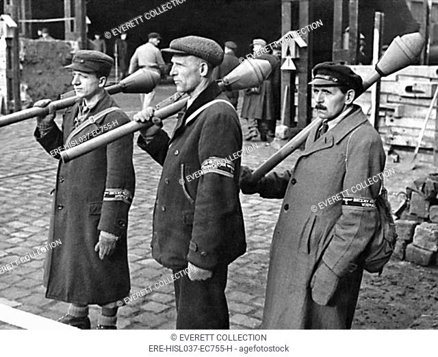Some of the 60,000 Volksstrum engaged in the Battle of Berlin, April 16-May 2, 1945. These civilian members of the German militia are armed with anti-tank...