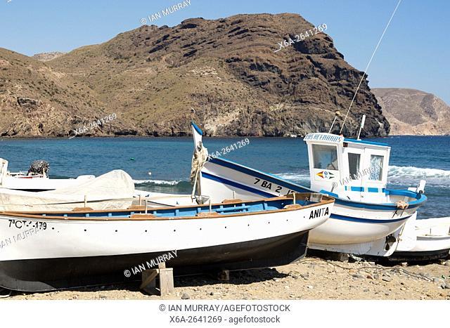 Fishing boats and see at Las Negras, Cabo de Gata natural park, Almeria, Spain