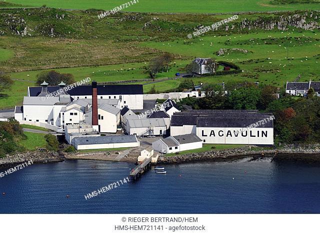 United Kingdom, Scotland, Inner Hebrides, Islay Island, Port Ellen, Lagavulin Scotch whisky distillery aerial view
