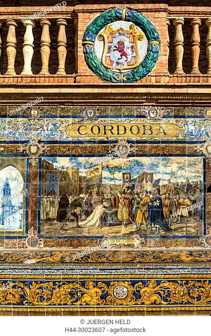 Antique ceramic, wall tiles representing provinces and cities of Spain , Cordoba, Placa de Espana, spanish square, Seville, Andalusia, Spain