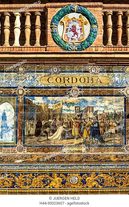 Antique ceramic, wall tiles representing provinces and cities of Spain , Cordoba, Placa de Espana, spanish square, Seville, Andalusia, Spain