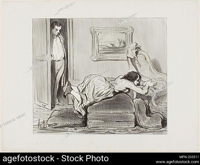 A zealous student practicing at home, plate 6 from Les Baigneuses - 1847 - Honoré Victorin Daumier French, 1808-1879 - Artist: Honoré-Victorin Daumier
