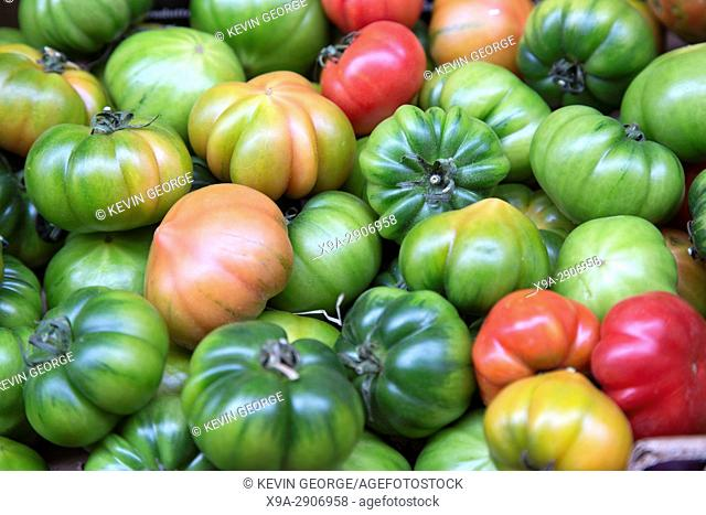 Tomatoes for Sale on Market Stall, Bologna, Italy,