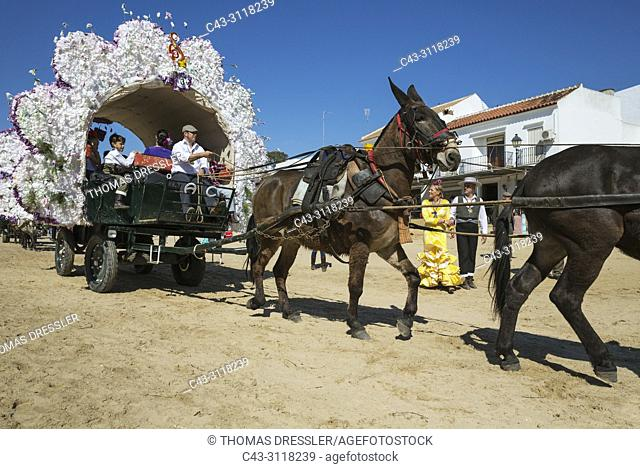 Decorated carriage during the annual Pentecost pilgrimage of El Rocio. Huelva province, Andalusia, Spain