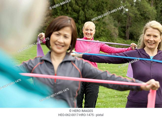 mature women doing a workout in the park