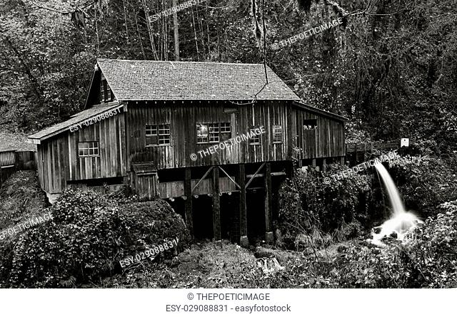 An autumn view of the Cedar Creek Gristmill outside of Woodland, Washington