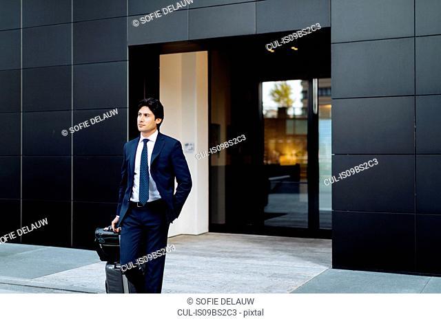 Businessman leaving on business trip