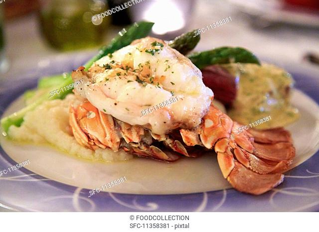 Lobster and steak with asparagus (Costa Rica)