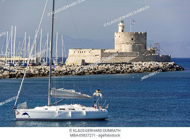 Rhodes, Mandraki harbour with fortress of agio Nikolaos