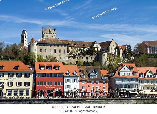 Meersburg Castle with waterfront on Lake Constance, Meersburg, Baden-Württemberg, Germany