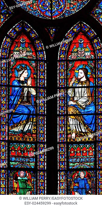 Jesus Christ Mary Angels Stained Glass Notre Dame Cathedral Paris France. Notre Dame was built between 1163 and 1250AD