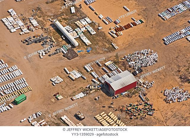 Aerial view of lot full of propane tanks, Manistee County, Michigan, USA