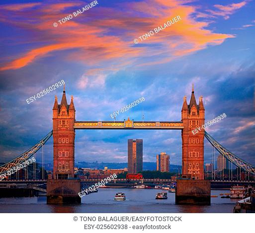 London Tower Bridge sunset on Thames river in England