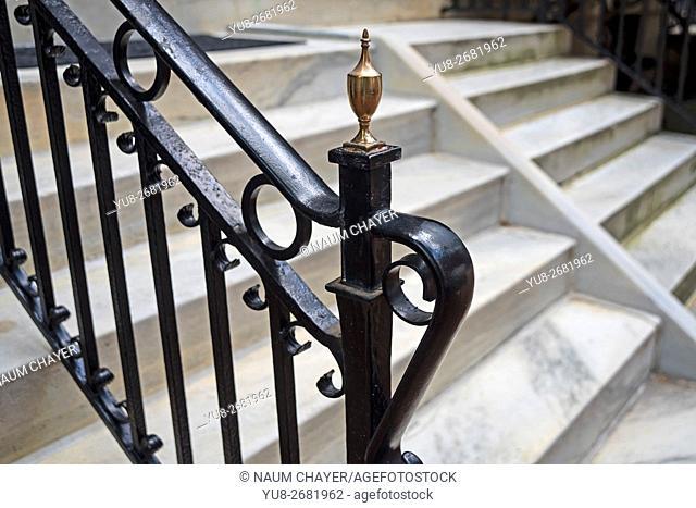 Gorgeous openwork railing home in the old Philadelphia, Pennsylvania, USA