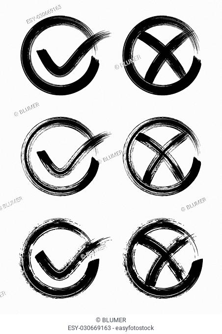Black check mark icons collection brush stroke style