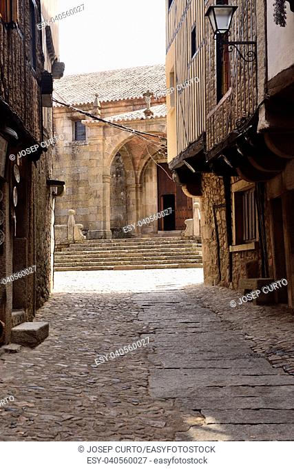streets and entrance of La Asuncion church, La Alberca, Salamanca province,Castilla-Leon, Spain