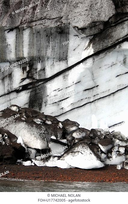 Close up views of glacial ice and ash after the 1969 eruption on Deception Island in Antarctica. Note how the ash is suspended within the ice itself