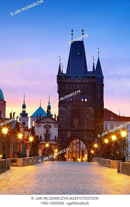 Prague - Old Town before sunrise, Bridge Tower and Charles Bridge, Prague, Czech Republic, Europe