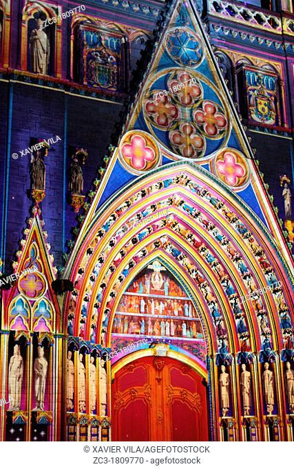 Cathedral Saint-Jean, la fête des lumières, Lyon, Rhône, Rhône-Alpes, France