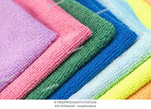 Colorful cleaning rag microfiber cloth isolated on white background