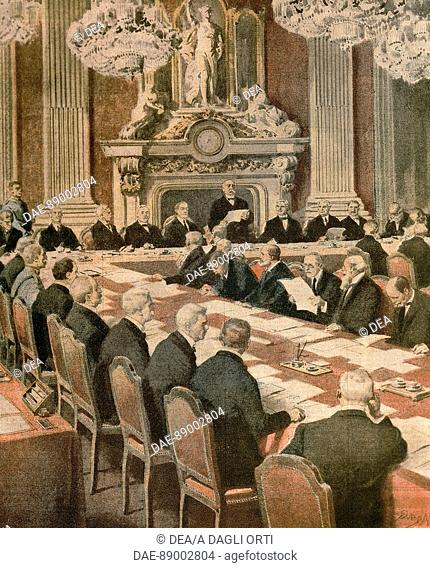 French President Georges Clemenceau speaking at The Paris Peace Conference. Illustrator Achille Beltrame (1871-1945), from La Domenica del Corriere, 1919