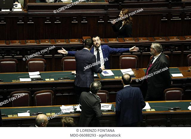 Nicola Molteni, Matteo Salvini, Lorenzo Fontana e Raffaele Volpi during the vote on the question of the trust placed by the Government on the Security and...