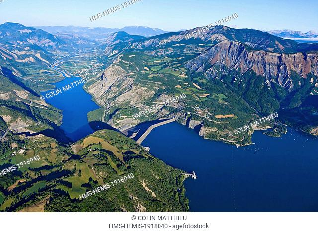 France, Hautes Alpes, Serre Poncon lake, Rousset, Bay Lionnets dam of Serre Poncon, the highest embankment dam in France (aerial view)