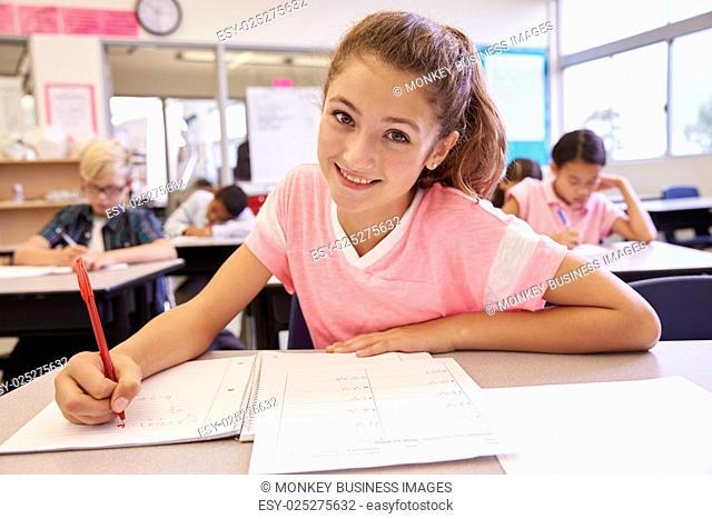 Schoolgirl in an elementary school class looking at camera