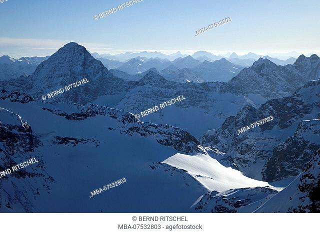 View of Piz Linard from Piz Buin in winter, Silvretta, Vorarlberg, Austria