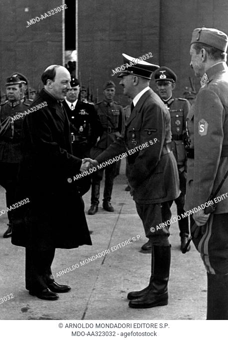 Adolf Hitler, Risto Ryti and Carl Gustaf Mannerheim. At Leningrad, present Saint Petersburg, in the Finnish headquarters