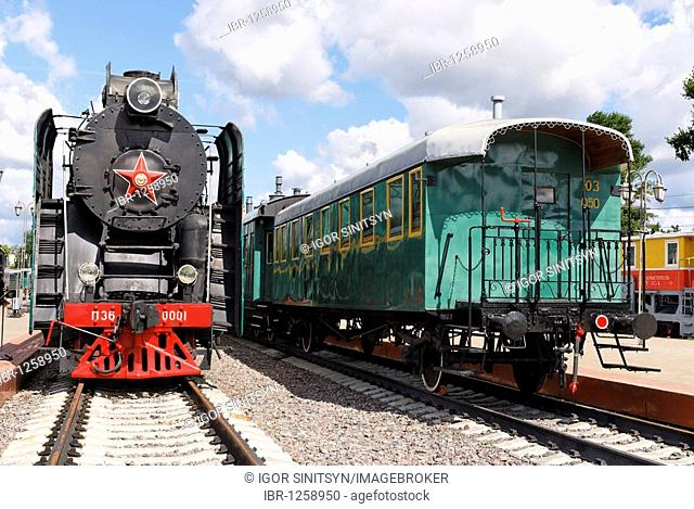 Soviet steam locomotive P36-0001 and retro waggon built by Hungarian factory Dier in 1901