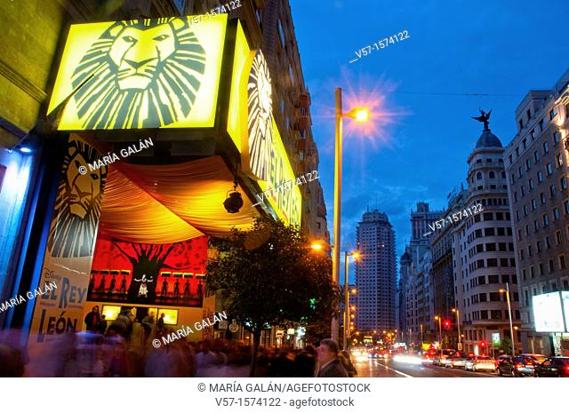 The Lion King musical show at Gran Via, night view. Madrid, Spain