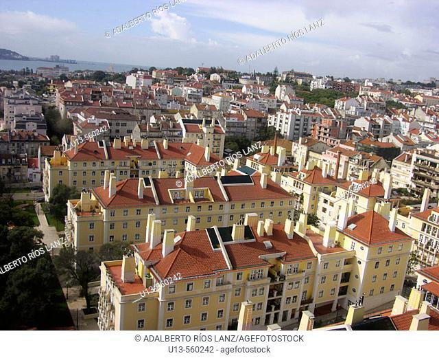 Panoramic View Baixa Quarter District Lisbon Portugal