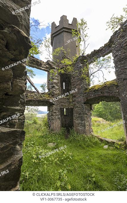 Ancient ruins of castle, Killarney National Park, County Kerry, Ireland