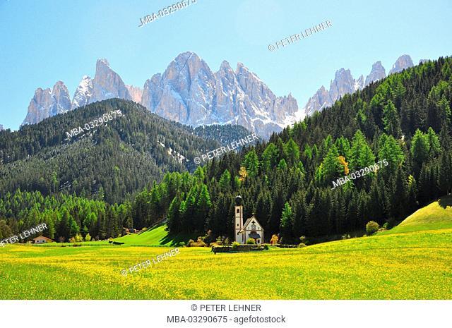 Italy, South Tirol, Villnösstal (Val di Funes), St. Magdalena, Ranui, Alpine grassland, chapel