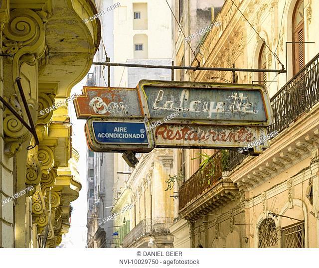 Neon advertising of the bar La Fayette, Havana, Cuba