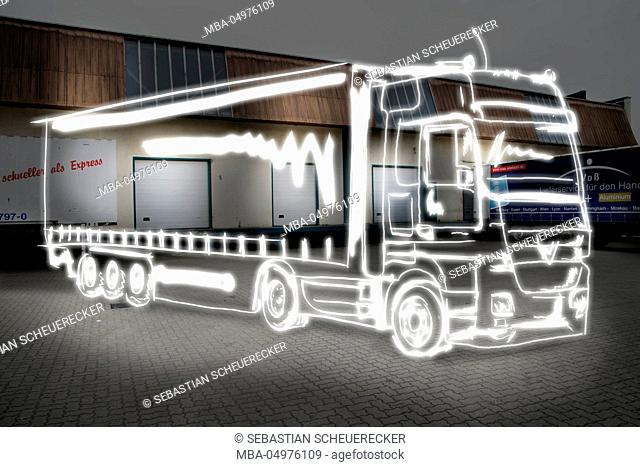 Logistics, truck, light drawing, warehouse, gate halls, factory building, without driver, deserted