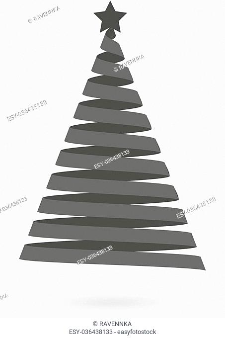Isolated dark grey icon for Christmas tree made of ribbon on white background with shadow