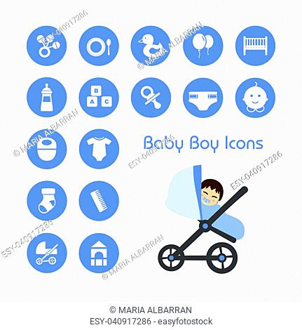 Baby boy on stroller and icons set