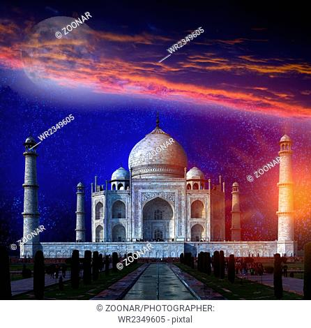Taj Mahal by the light of the full moon in Agra