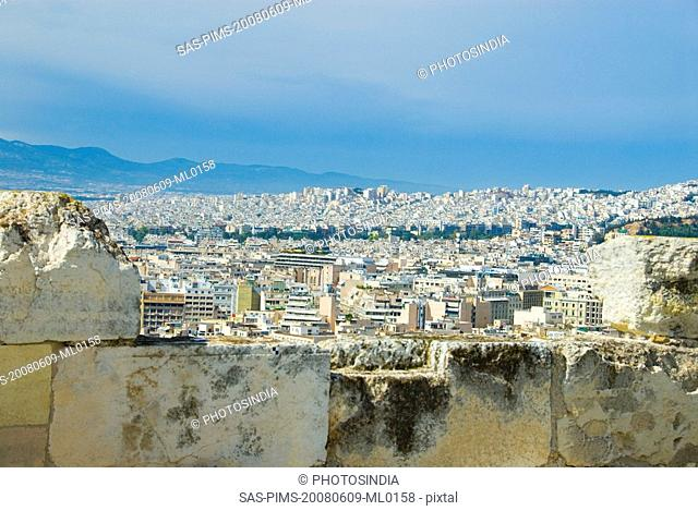 Ruins of a stone wall, Acropolis, Athens, Greece