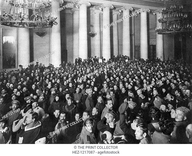 Petrograd Soviet of Workers' and Soldiers' Deputies, Tauride Palace, Russia, 1917. The Petrograd Soviet first met on 27 February 1917 at the beginning of the...