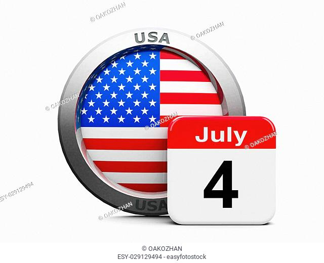 Emblem of USA with calendar button - Fourth of July - represents the Independence day, three-dimensional rendering