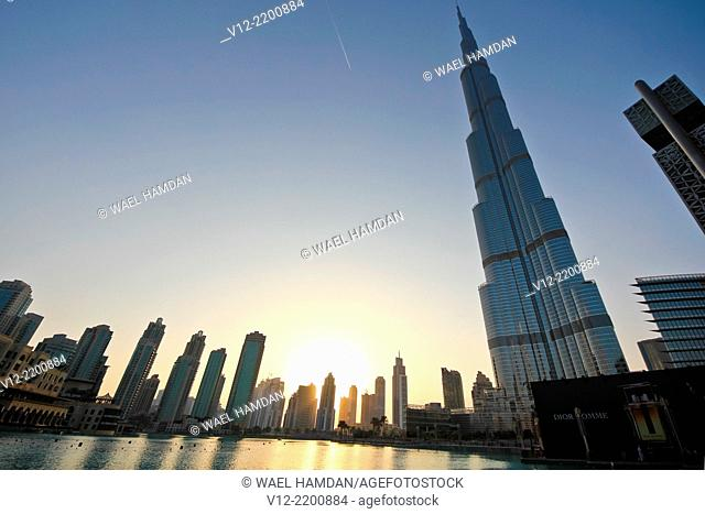 Silhouette of Burj Khalifa, Burj Dubai, the tallest building in the world in Dubai