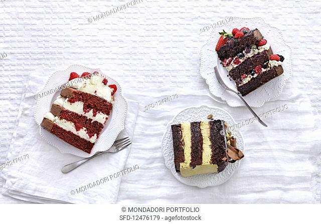 Red velvet cake, Devil's food cake and Chocolate pistacchio cake